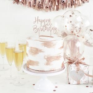 Club Green Acrylic Cake Topper - Happy Birthday - Rose Gold Glitter