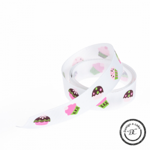 Bertie's Bows Patterned Ribbon - Cupcakes - White - 16mm - Full Roll