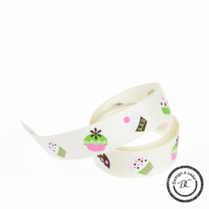 Bertie's Bows Patterned Ribbon - Cupcakes - Ivory - 16mm - Full Roll