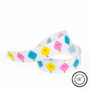 Bertie's Bows Patterned Ribbon - Colourful Chicks - Multi-Colour - 16mm - Full Roll