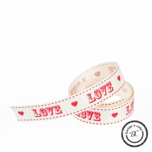 Bertie's Bows Patterned Ribbon - Vintage Font Love - Cream & Red - 16mm - Full Roll