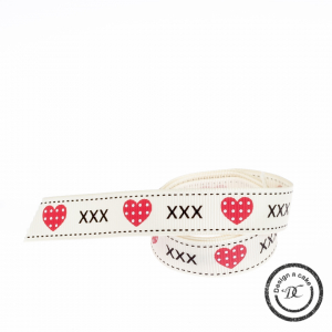 Bertie's Bows Patterned Ribbon - Hearts & Kisses - Cream & Red - 16mm - Full Roll