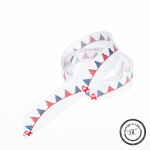 Bertie's Bows Patterned Ribbon - Bunting - Red & Navy Blue - 16mm - Full Roll