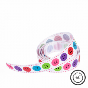 Bertie's Bows Patterned Ribbon - Buttons - Bright - 16mm - Full Roll