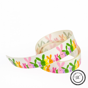 Bertie's Bows Patterned Ribbon - Colourful Bunnies - Multi-Colour - 16mm - Full Roll