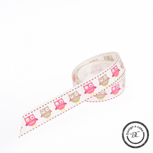 Bertie's Bows Patterned Ribbon - Owls - Ivory - 16mm - Full Roll