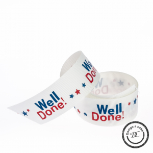 Occasion Ribbon - Well Done! - White, Red & Blue - 25mm - Full Roll