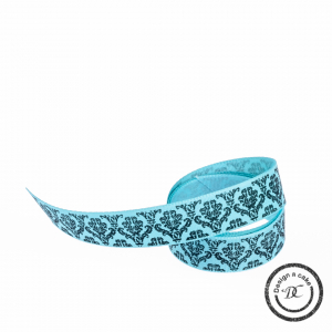 Berisfords Patterned Ribbon - Baroque - Blue - 15mm - Full Rol