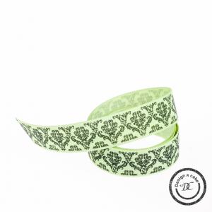 Berisfords Patterned Ribbon - Baroque - Green - 15mm - Full Roll