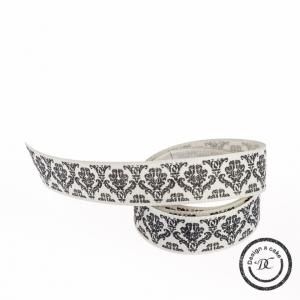 Berisfords Patterned Ribbon - Baroque - Stone - 15mm - Full Roll