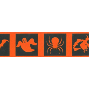 Berisfords Patterned Ribbon - Halloween Squares - Orange & Black - 40mm