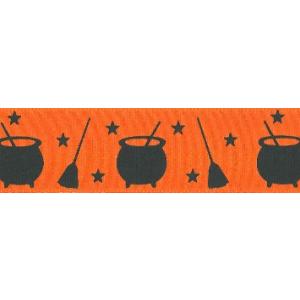 Berisfords Patterned Ribbon - Halloween Cauldrons - Orange & Black - 40mm