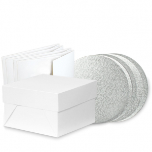 """Bundle Pack of 5 - Cake Drum with Box - Silver / Round 12"""""""