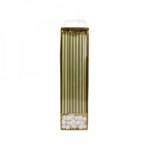 PME Extra Tall Candles & Holders - Gold (Pack of 16)