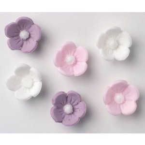 Culpitt Piped Sugar Flowers - Blossoms - Lilac, Pink, White (Box of 1000)