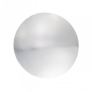 "Single Thick Mirror Cut Edge Cake Card : 1.5mm - Round - Silver - 8"""