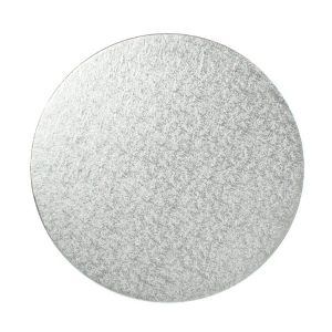 """Single Thick Turned Edge Cake Card - Round - Silver - 14"""""""
