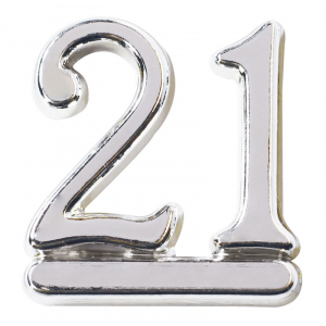 Culpitt Decoration / Motto - Number 21 - Silver (Pack of 50)