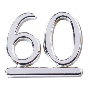 Culpitt Decoration / Motto - Number 60 - Silver (Pack of 50)