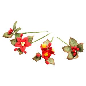 House of Cake Mini Sugar Flower Sprays - Poinsettia (4 Piece)
