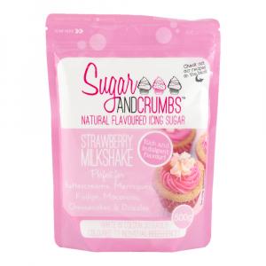 Sugar & Crumbs Natural Flavoured Icing Sugar - Strawberry Milkshake (500g Bag)