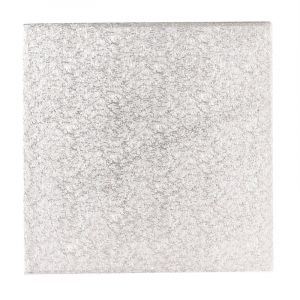 """Single Thick Turned Edge Cake Card - Square - Silver - 08"""""""