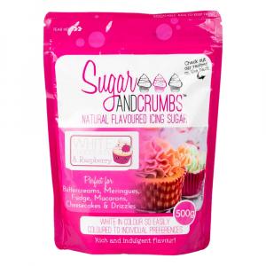 Sugar & Crumbs Natural Flavoured Icing Sugar - White Chocolate & Raspberry (500g)