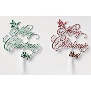 Culpitt Cake Pick Decoration - Merry Christmas & Mistletoe - Green/Red (Pack of 24)