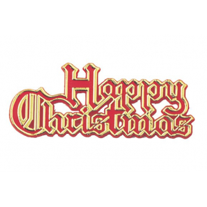 Culpitt Decoration / Motto - Happy Christmas - Red with Gold Edge (Pack of 100)