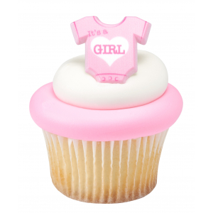 DecoPac Cake Ring Decoration - It's A Girl Onesie - Pink (Pack of 72)